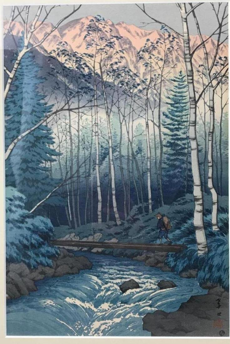 Japanese wood block print titled Dawn at Takegawa of - 3