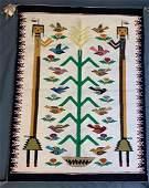 Navajo Native American Bird Pictorial Rug Weaving, Rena