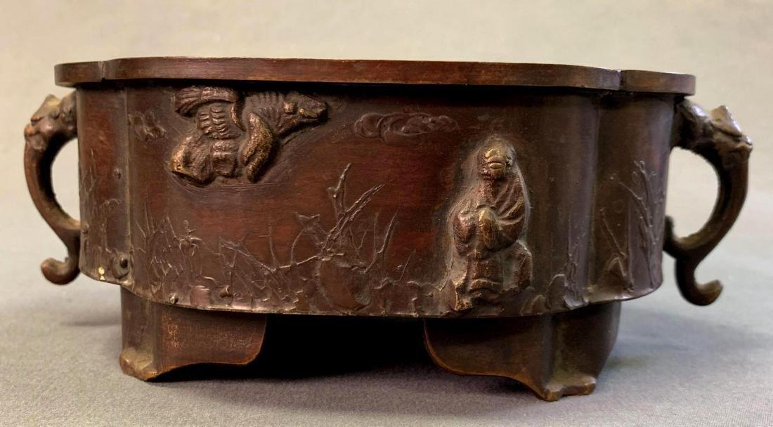 Japanese Bronze Suiban or Vase for Ikebana, Meiji