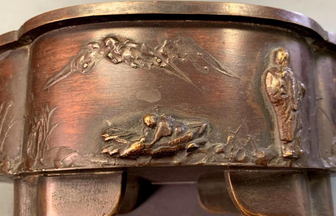 Japanese Bronze Suiban or Vase for Ikebana, Meiji - 4