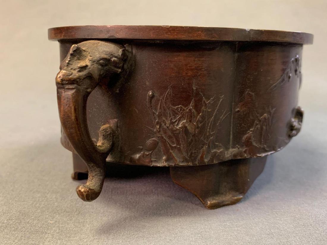 Japanese Bronze Suiban or Vase for Ikebana, Meiji - 6