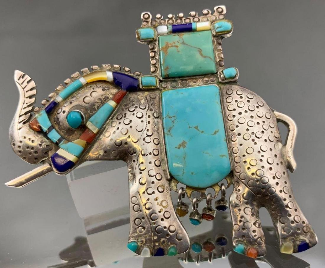Unusual Stamped Sterling Silver and Turquoise Elephant
