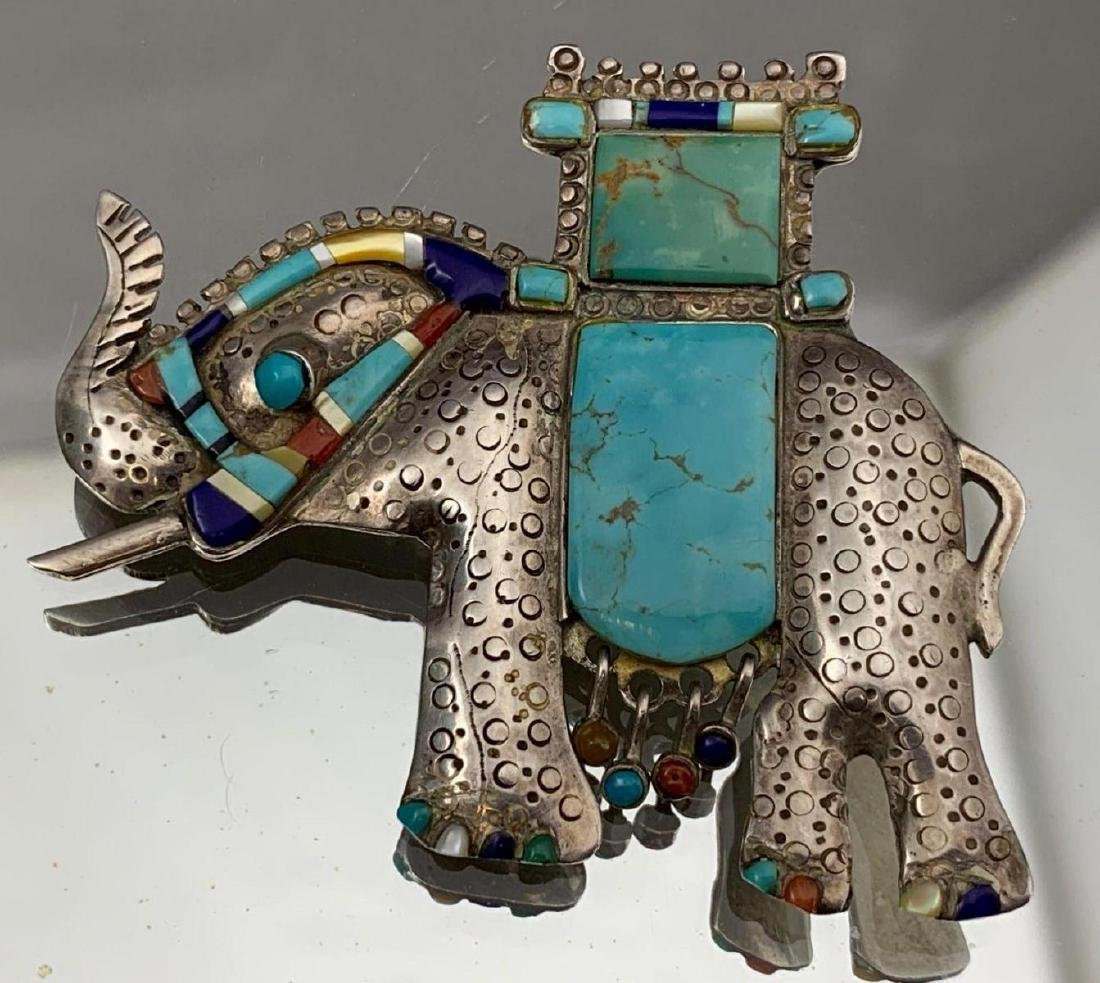 Unusual Stamped Sterling Silver and Turquoise Elephant - 3