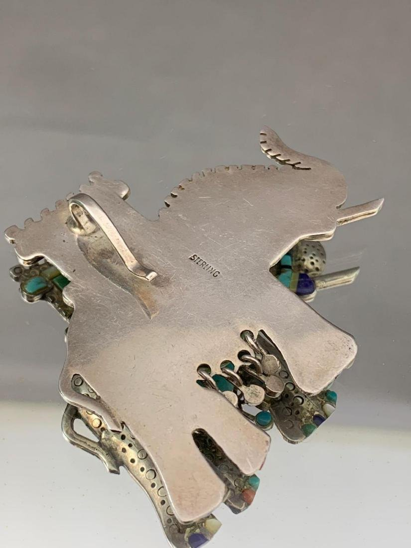 Unusual Stamped Sterling Silver and Turquoise Elephant - 4