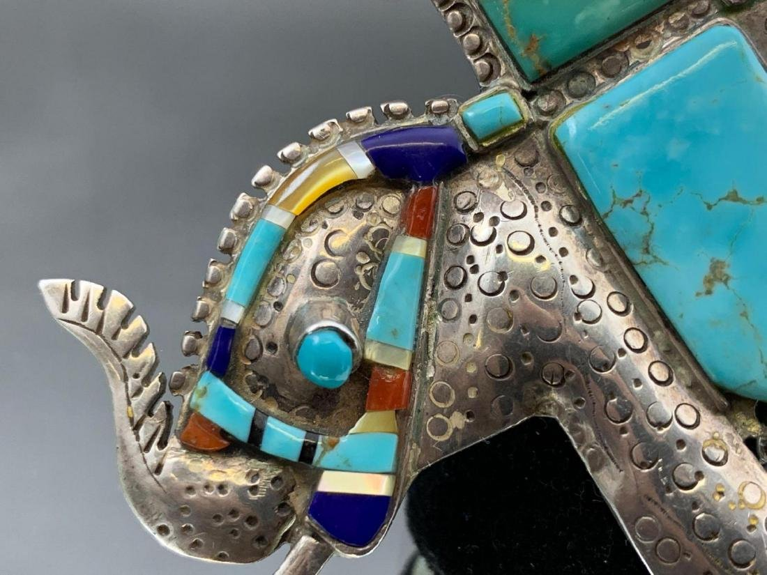Unusual Stamped Sterling Silver and Turquoise Elephant - 5