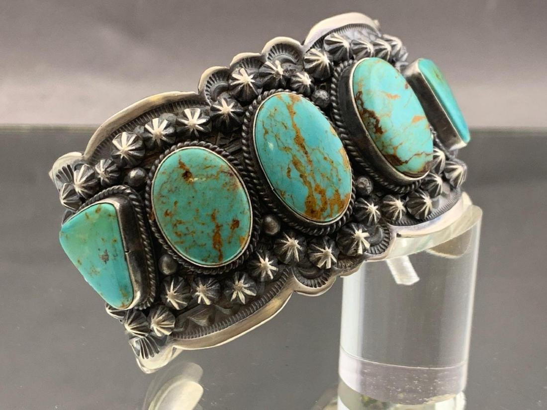 Navajo sterling silver and Kingman turquoise bracelet
