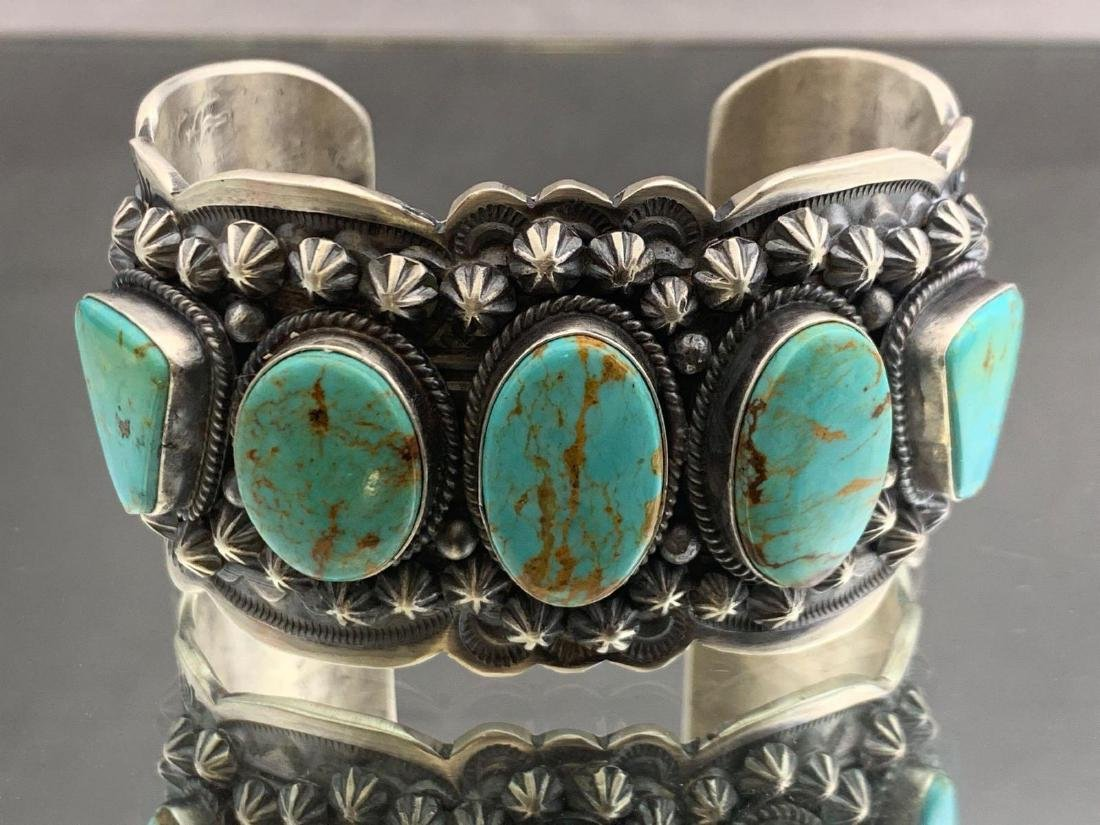 Navajo sterling silver and Kingman turquoise bracelet - 2