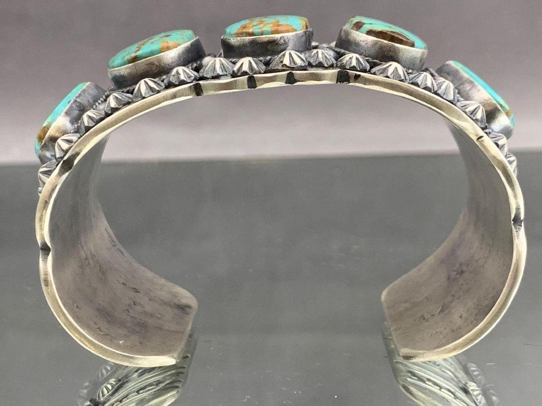 Navajo sterling silver and Kingman turquoise bracelet - 3
