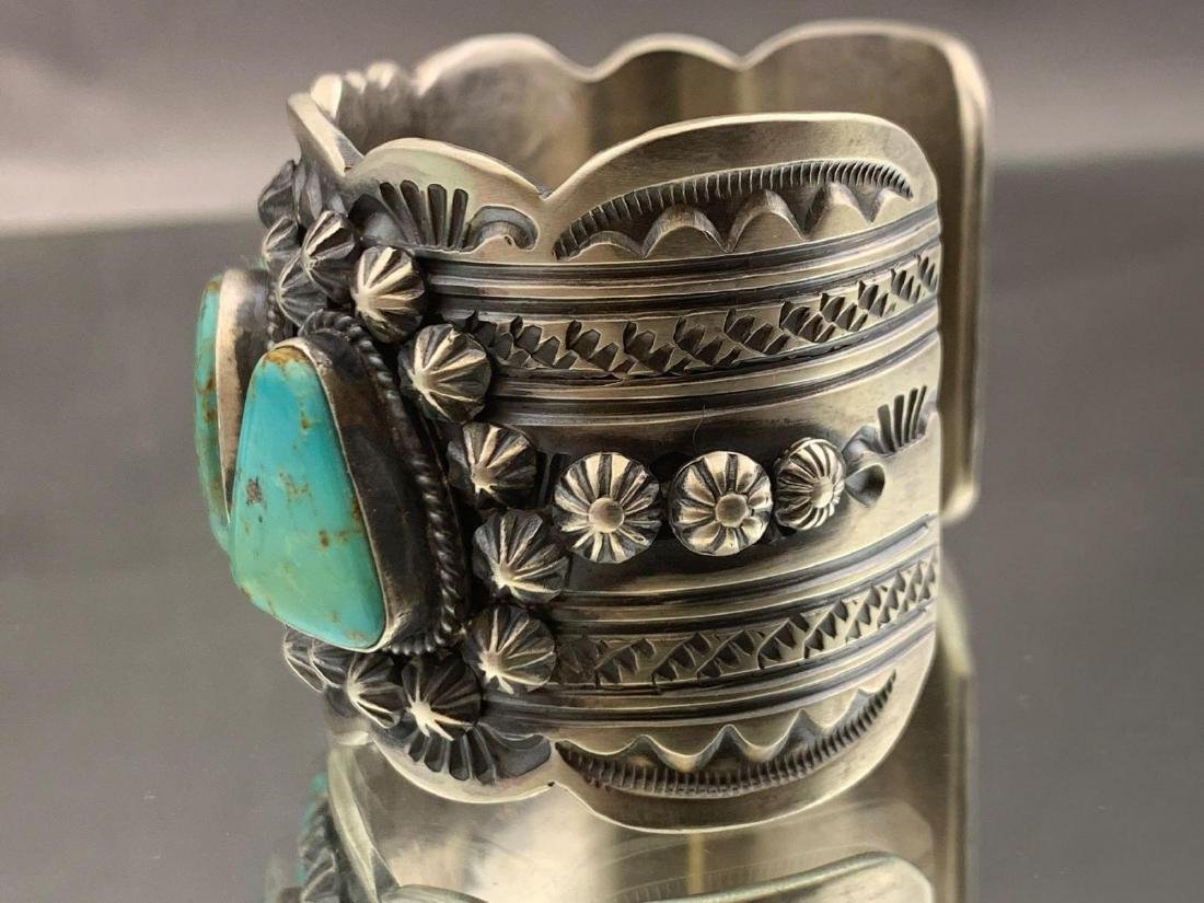 Navajo sterling silver and Kingman turquoise bracelet - 5