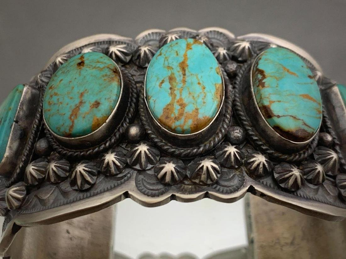 Navajo sterling silver and Kingman turquoise bracelet - 6