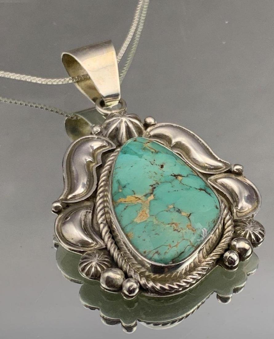 Navajo sterling silver and turquoise pendant by - 2