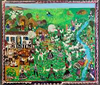 Large French Folk Art Oil on Canvas, Country Festival,