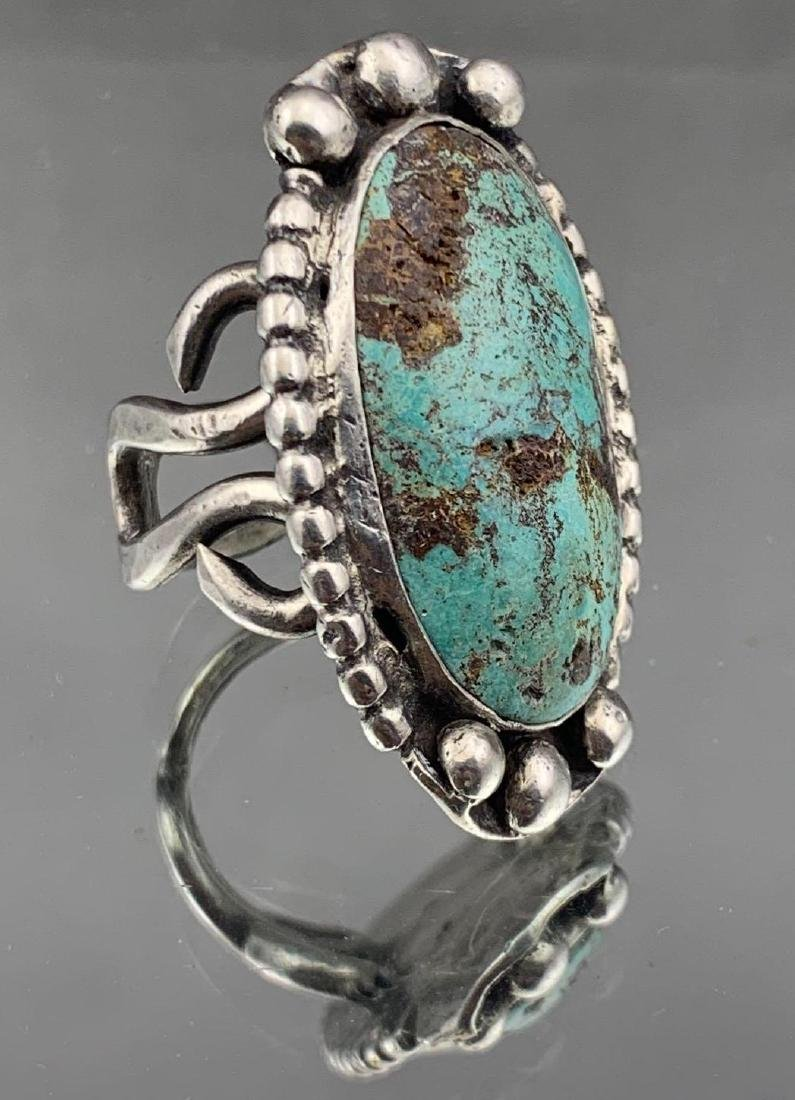 Navajo Old Pawn Turquoise and Sterling Ring