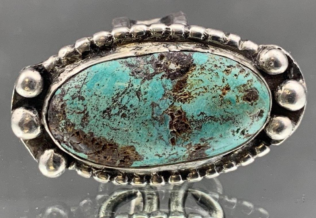 Navajo Old Pawn Turquoise and Sterling Ring - 2