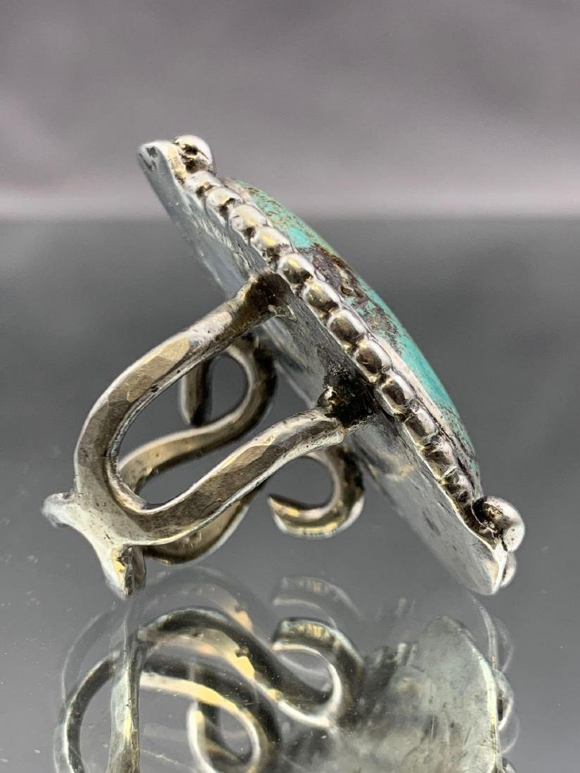 Navajo Old Pawn Turquoise and Sterling Ring - 4