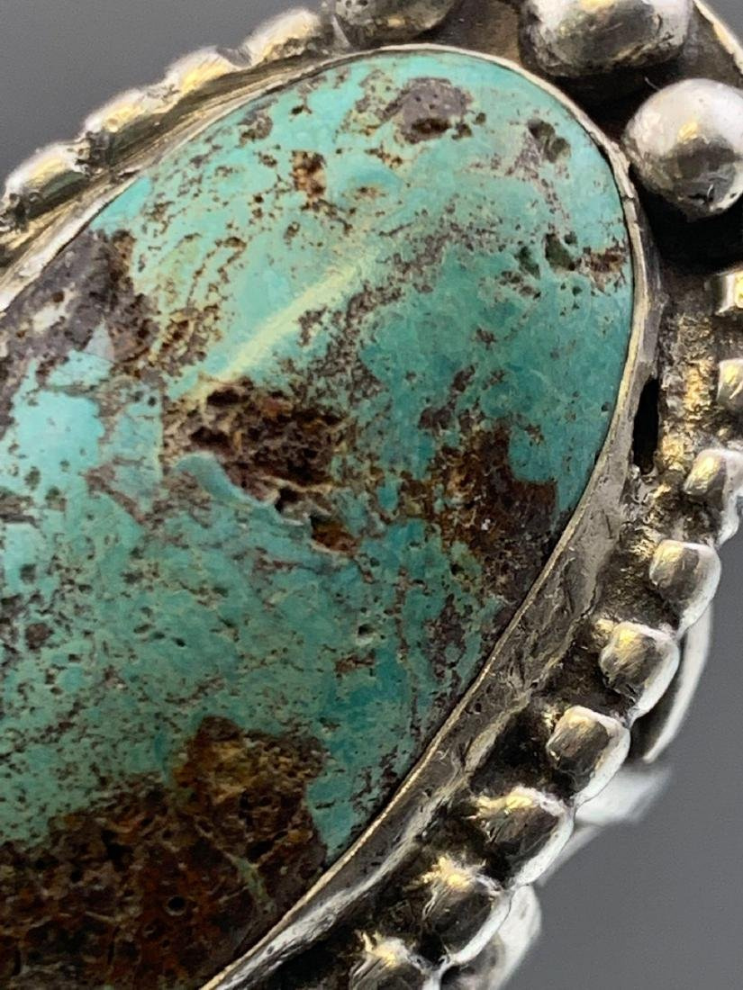 Navajo Old Pawn Turquoise and Sterling Ring - 5