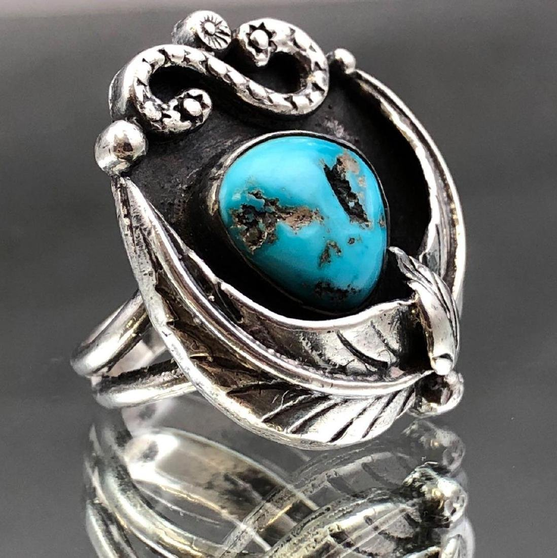 Old Pawn Navajo Turquoise and Sterling Ring