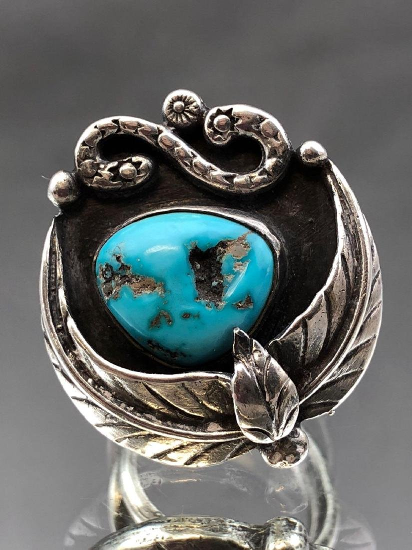 Old Pawn Navajo Turquoise and Sterling Ring - 2