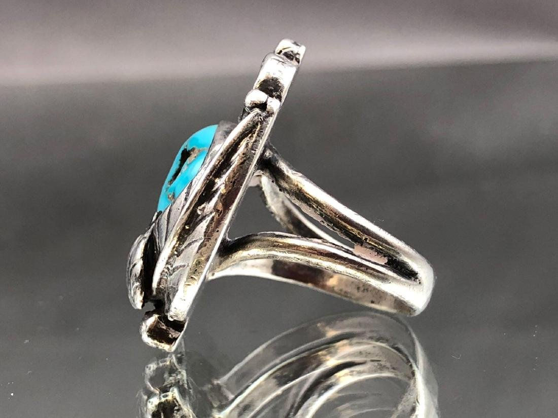 Old Pawn Navajo Turquoise and Sterling Ring - 4