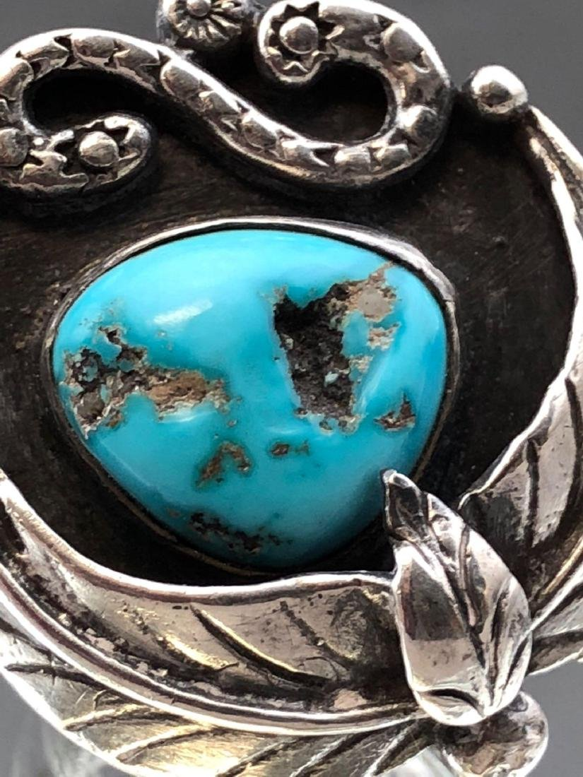 Old Pawn Navajo Turquoise and Sterling Ring - 5
