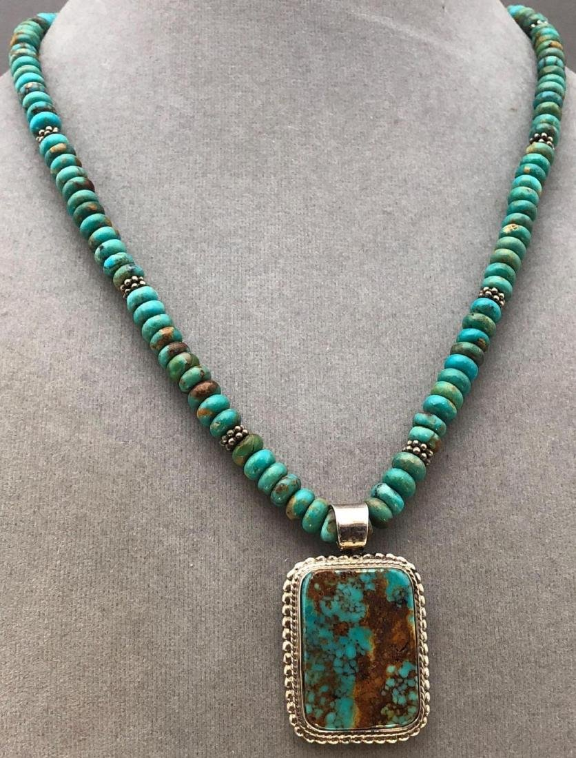 Chris Billie, Navajo Turquoise and Sterling Pendant on - 2