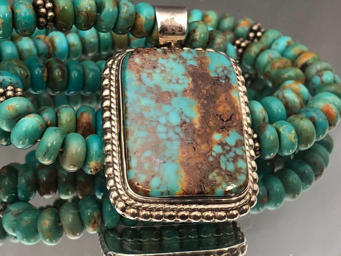 Chris Billie, Navajo Turquoise and Sterling Pendant on - 5