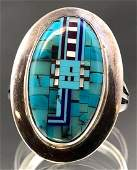 Chester Nez Navajo Turquoise Micromosaic Ring