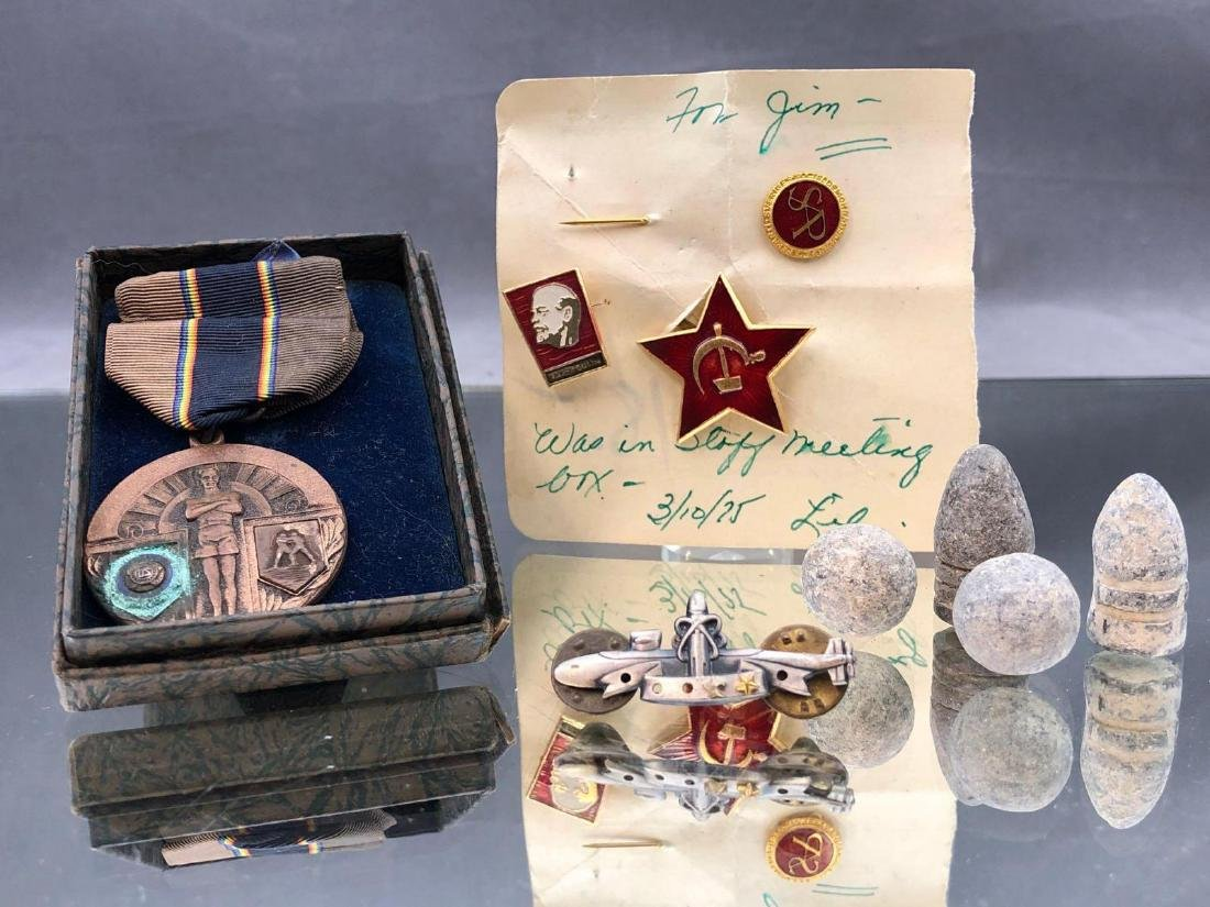Military Lot of Civil Era Bullets, Russian Pins And