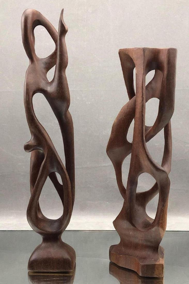 Pair of Mid Century Modern Biomorphic Teak Abstract