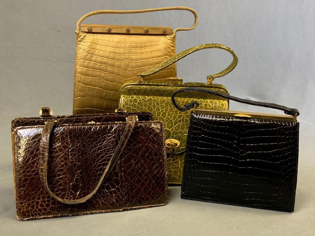 Four Genuine Reptile Skin Handbags, Lucille de Paris,