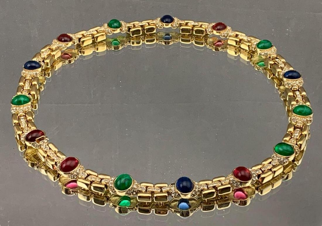 Vintage Ciner Choker with Ruby, Emerald, Sapphire and
