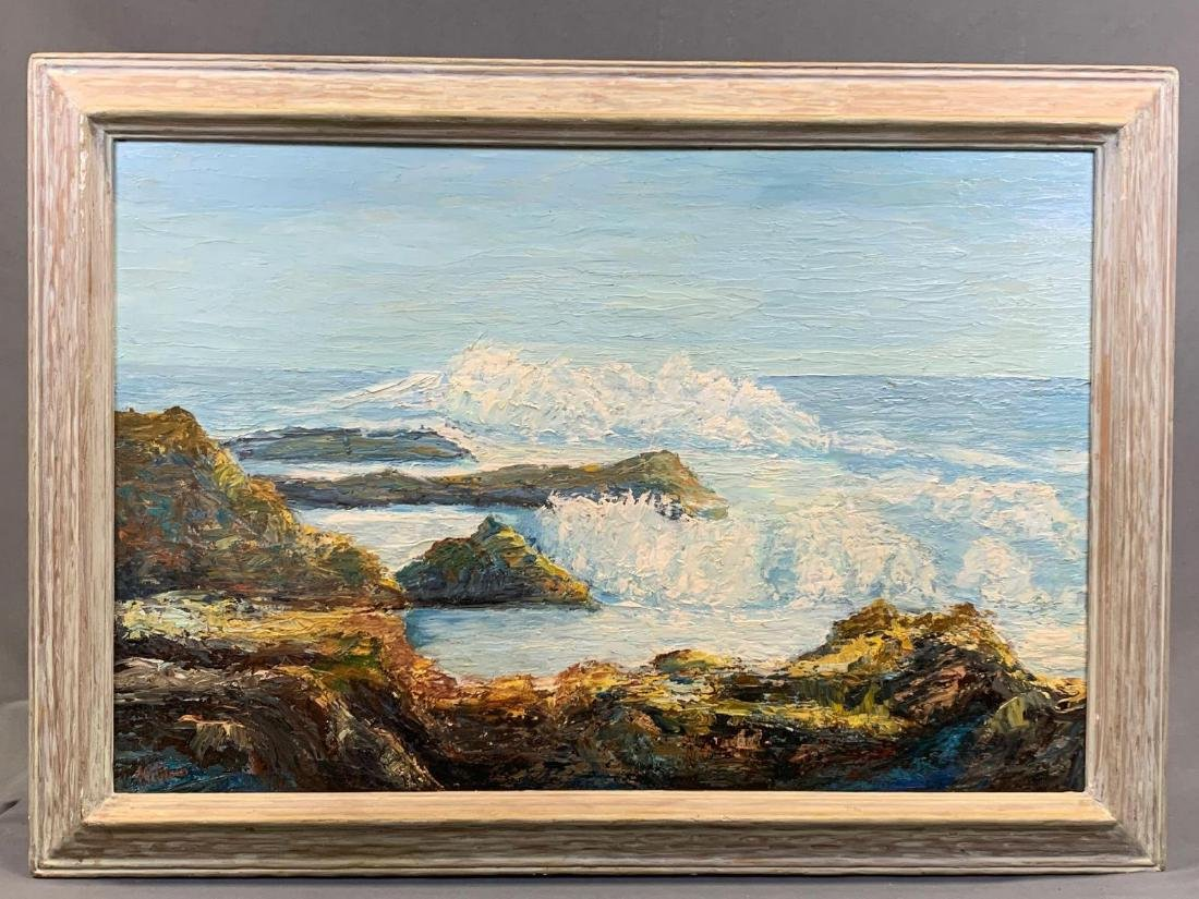 California School, Plein Air Seascape, M. Block, Oil on