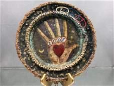 Folk Art Heart In Hand Oddfellows Display Plaque