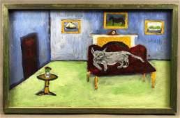 "American Folk Art, Jonathan Taylor, ""Cat on Couch"""