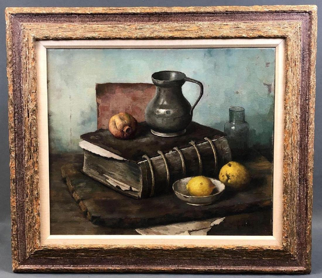 "Henk Bos Oil On Canvas Titled ""Old Book And Lemons"""