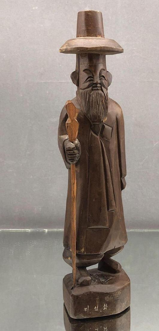 Korean Folk Art Hand Carved Wooden Figure