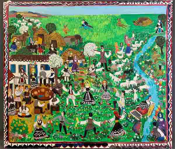 Folk Art Oil On Canvas Of Greek Pagan Festival, Signed