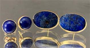Two Pair of 14k Gold Lapis Earrings