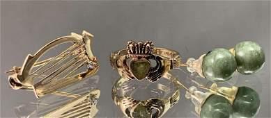 Four Pieces Of Vintage Irish Gold, jadite And Diamond