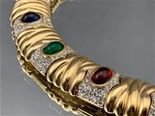 Ciner Serpentine Choker With Ruby Emerald Sapphire