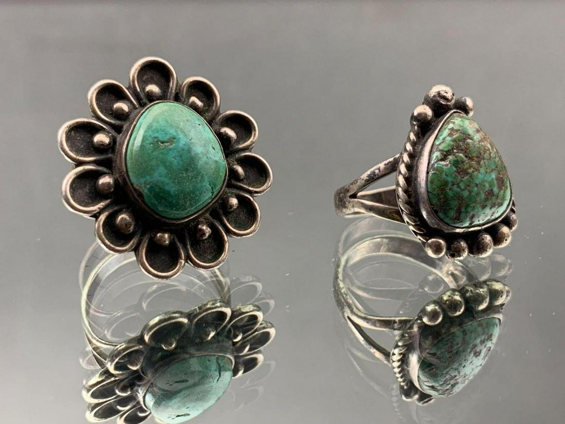 Two Native American Sterling & Turquoise Rings