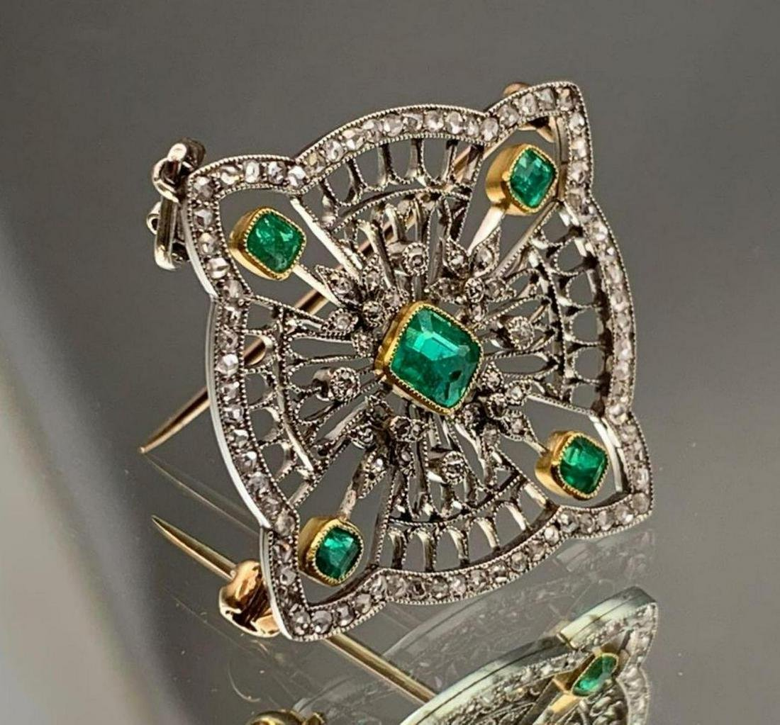 Platinum Emerald & Diamond Brooch-Pendant