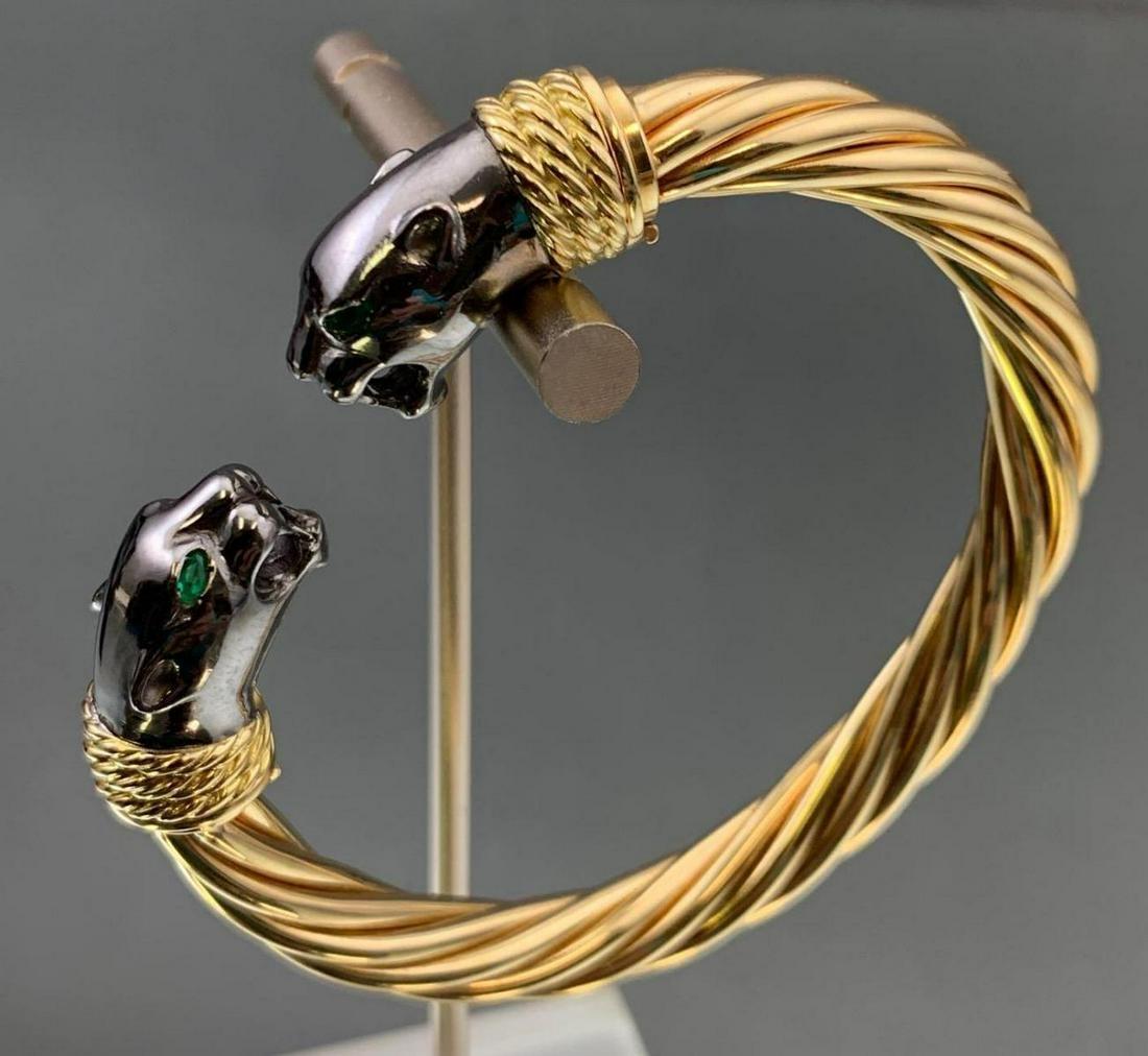 18k Gold & Emerald Panther Bracelet w/Interchangeable