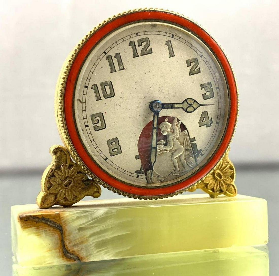 Miniature Art Deco Clock With Cherub On Marble Base