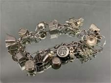 Sterling Silver Charm Bracelet 343g