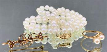 Three Piece Pearl Jewelry Lot Necklace Ring And Pin
