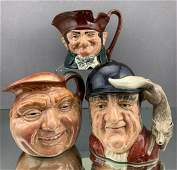3 Royal Doulton Character Toby Mugs, including Gone