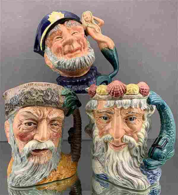 3 Royal Doulton Character Toby Mugs, including Neptune