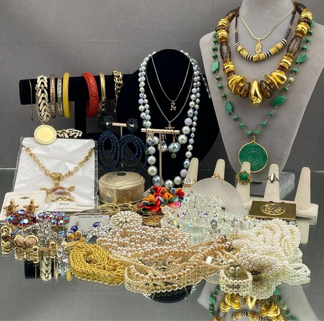 Large Costume Jewelry Lot Some 10k Gold included