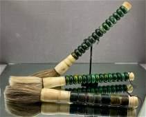 3 Chinese Calligraphy Brushes of Bone Green Hard